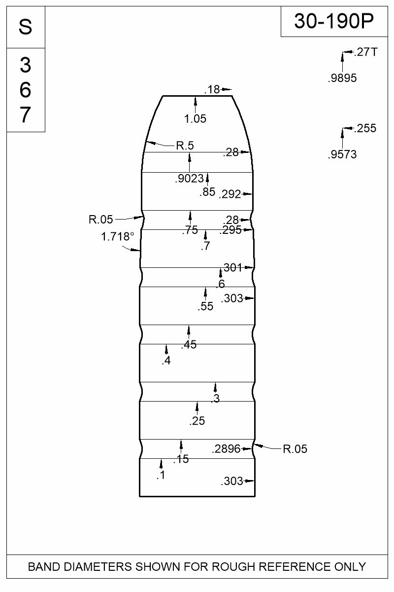 Dimensioned view of bullet 30-190P.
