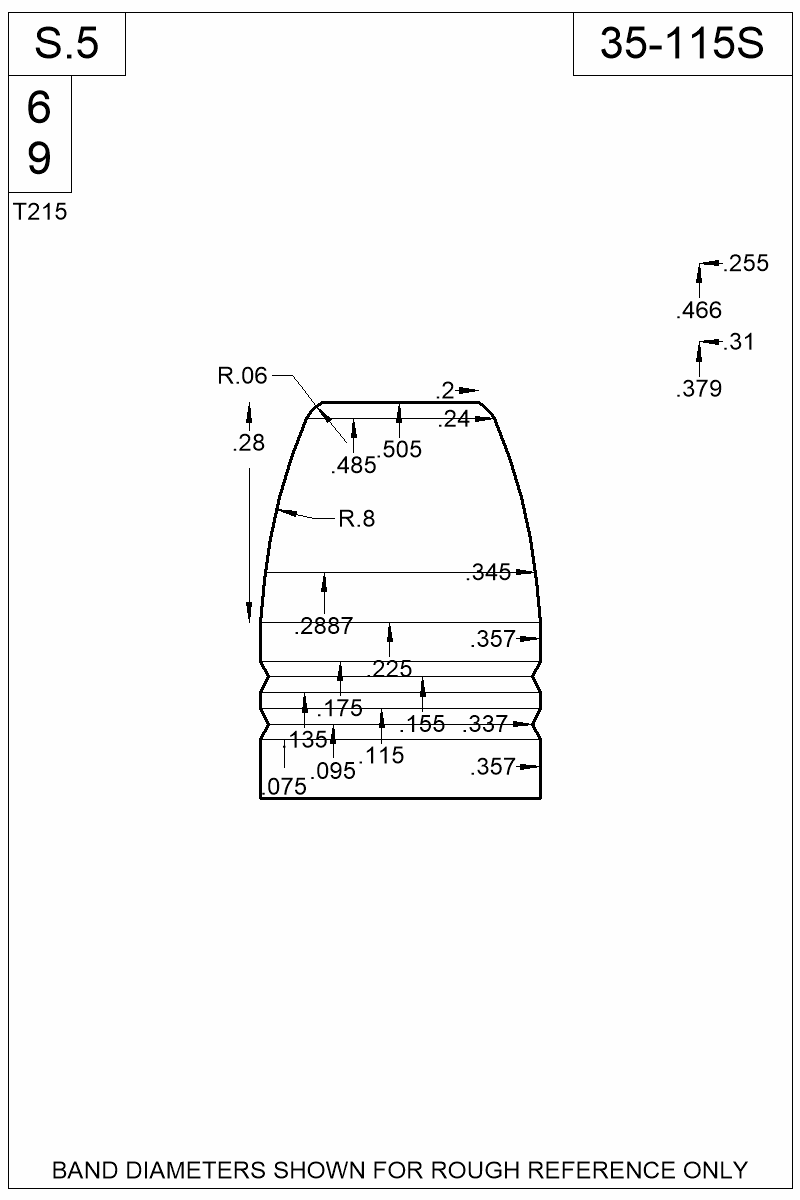 Dimensioned view of bullet 35-115S.