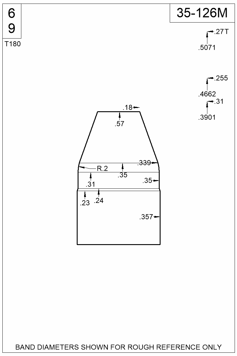 Dimensioned view of bullet 35-126M.