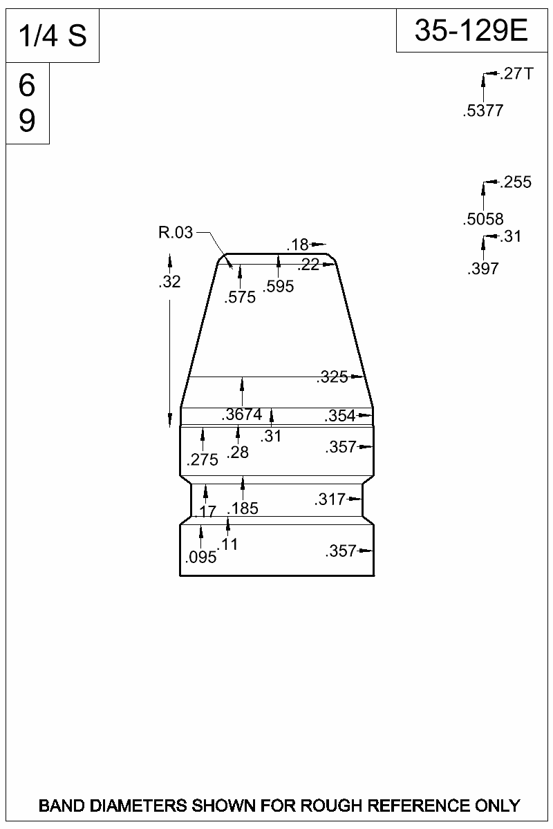 Dimensioned view of bullet 35-129E.