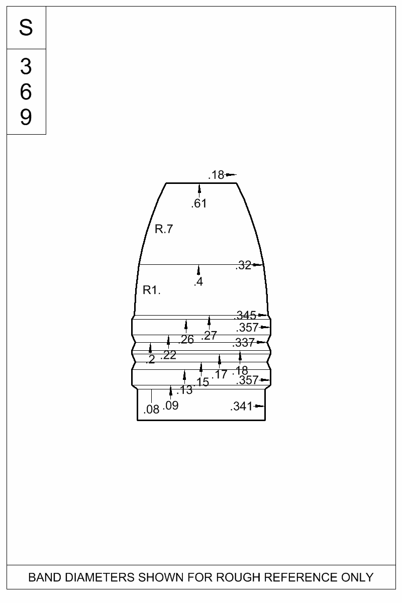 Dimensioned view of bullet 35-135C.