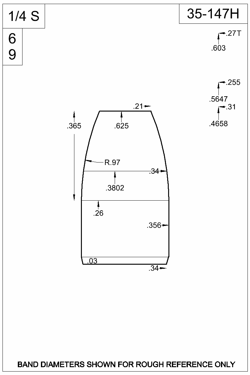 Dimensioned view of bullet 35-147H.