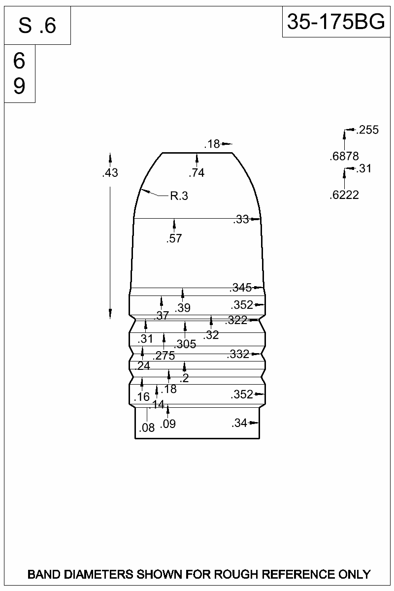Dimensioned view of bullet 35-175BG.