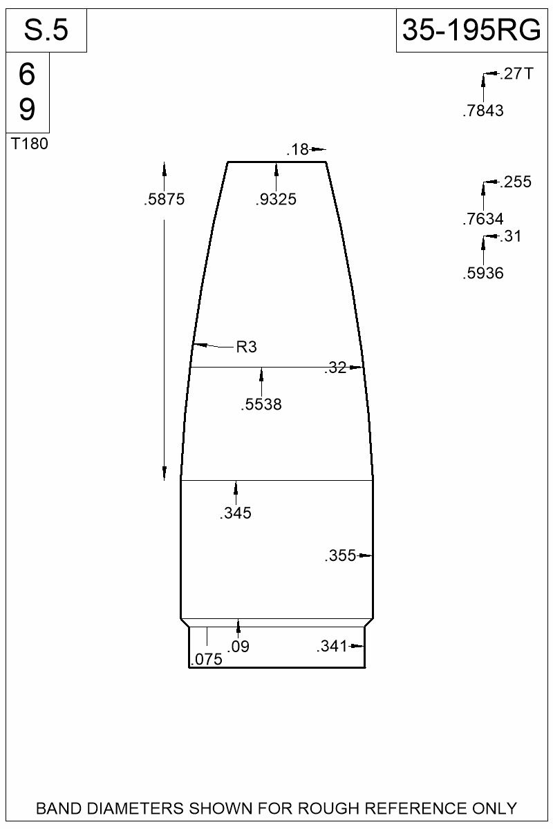 Dimensioned view of bullet 35-195RG.